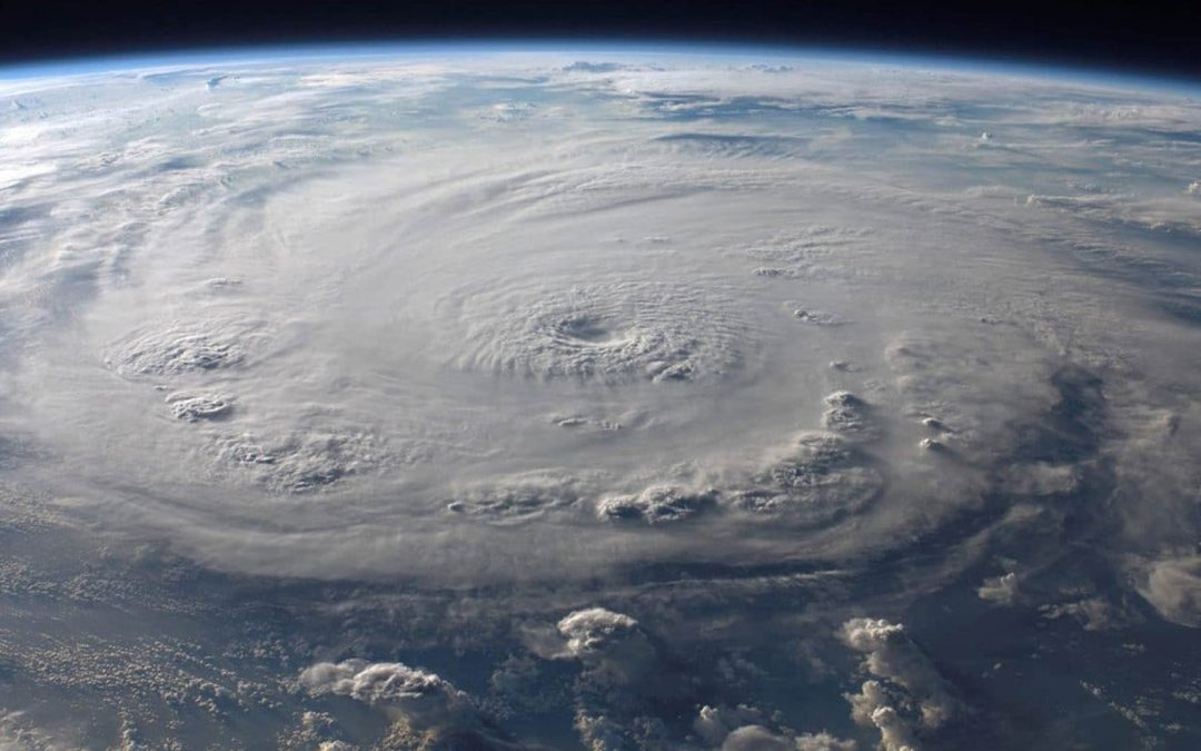 view from space of a hurricane over the ocean on Earth